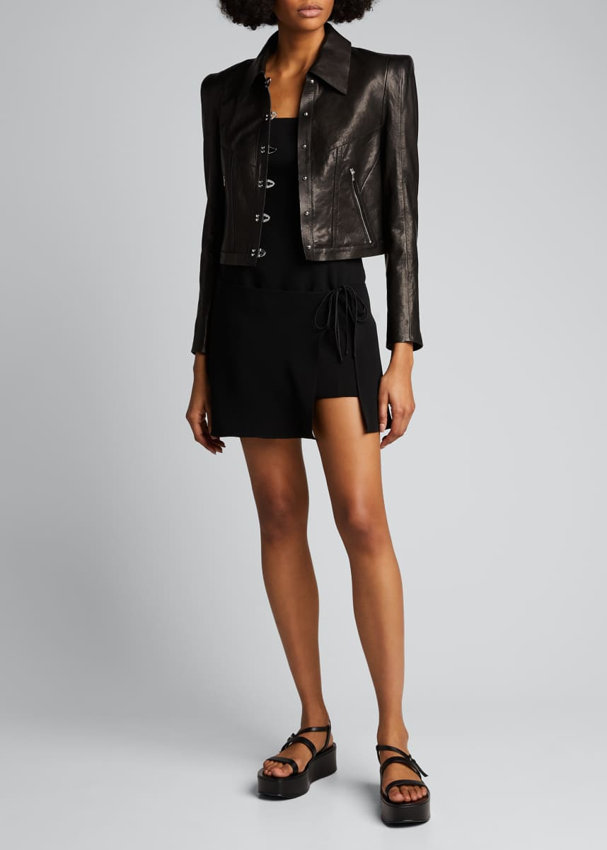 Olivier Theyskens Leather Hook-Front Jacket