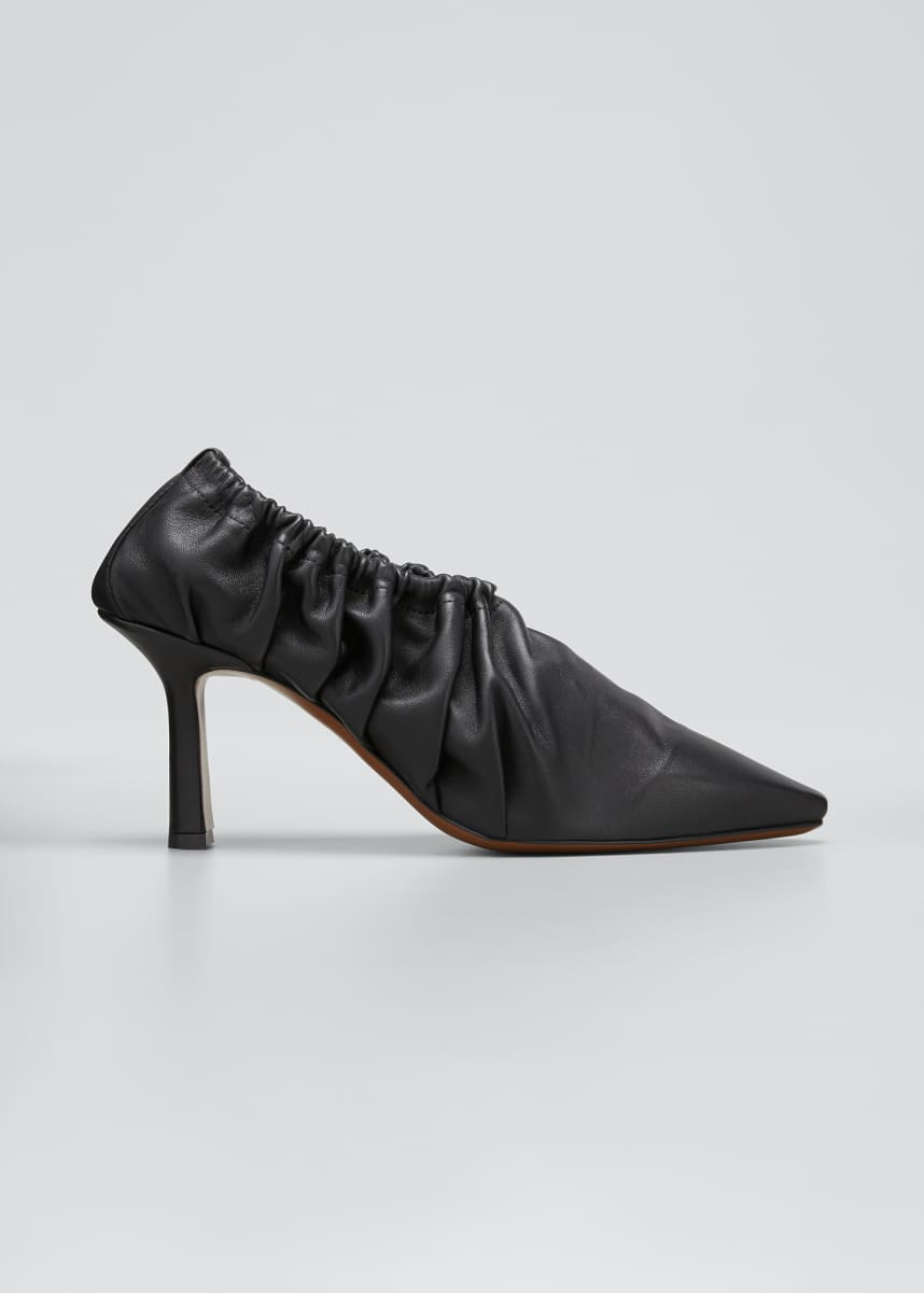 Neous Chondro Ruched Leather Pumps