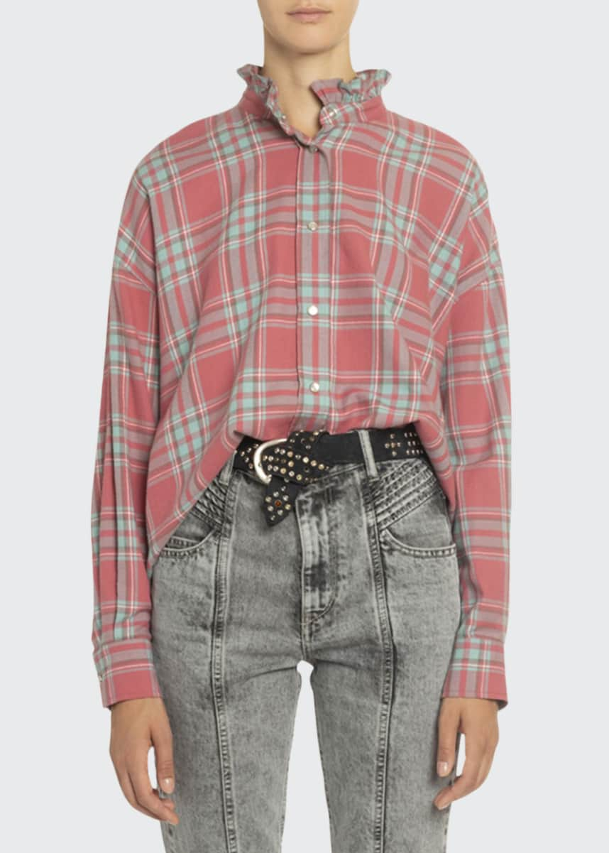 Etoile Isabel Marant Ilaria Plaid Frilled-Collar Shirt