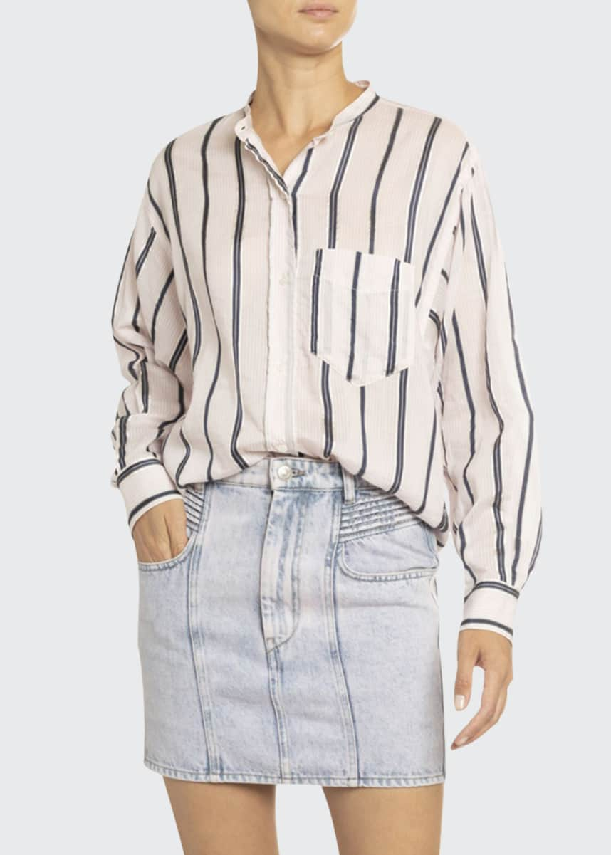Etoile Isabel Marant Satchell Striped Cotton-Silk Shirt