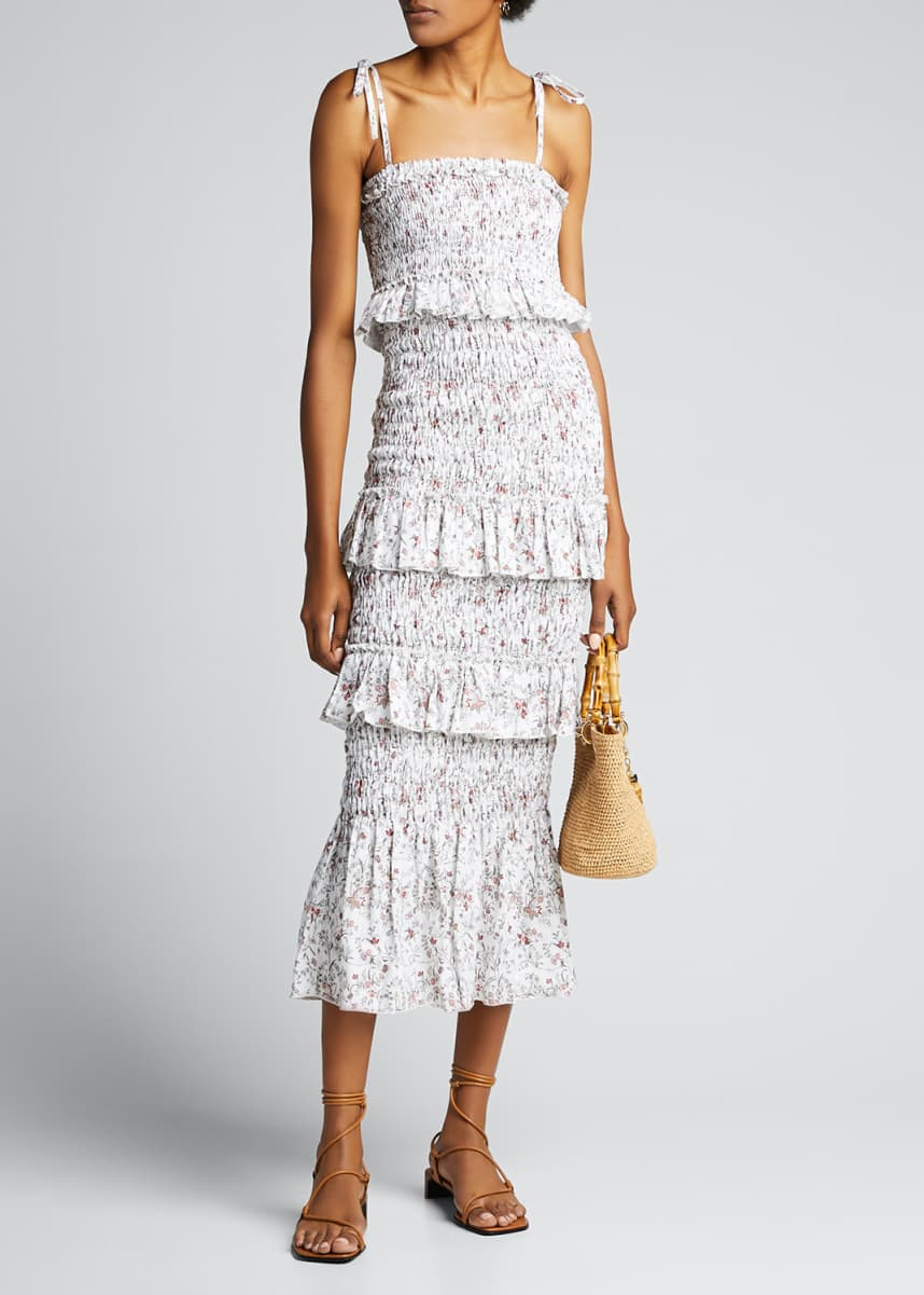 SIR The Label Haisley Ruched Tiered Floral Midi Dress