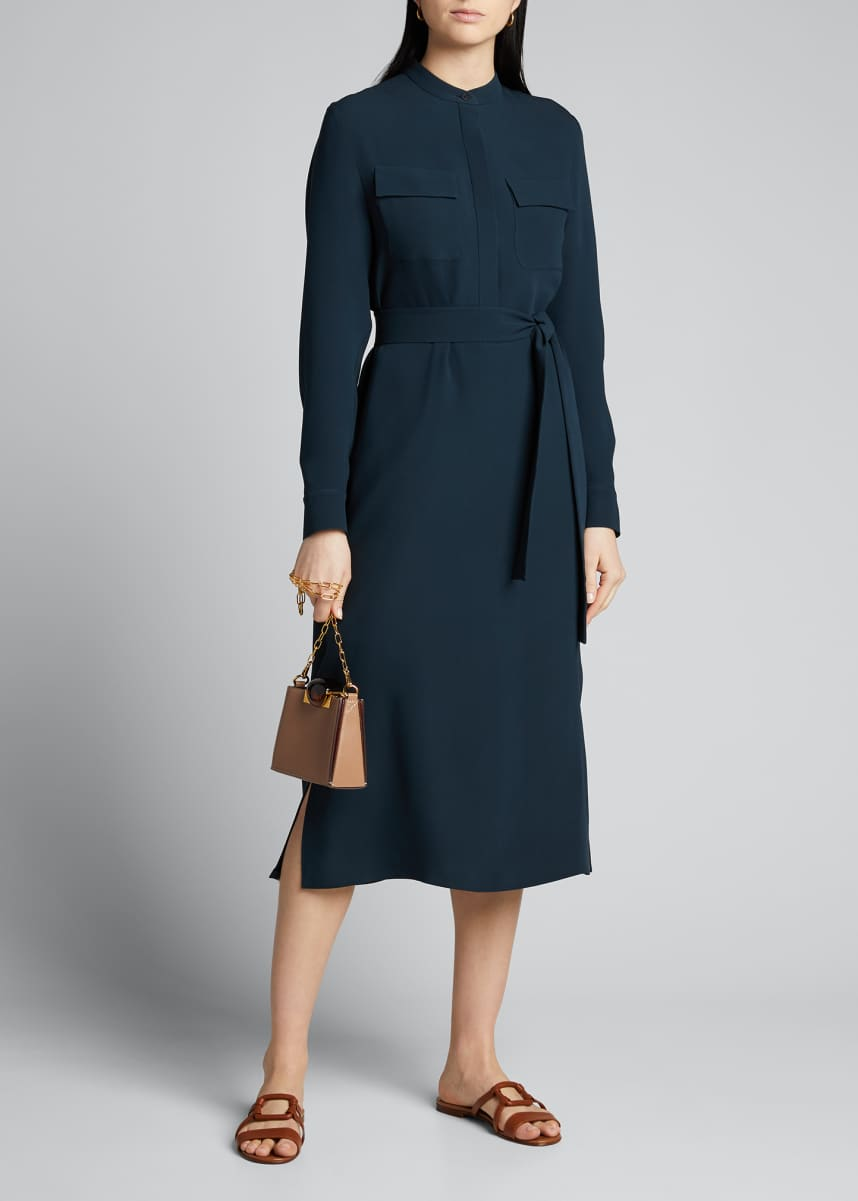 Loro Piana Silk Button-Front Shirtdress