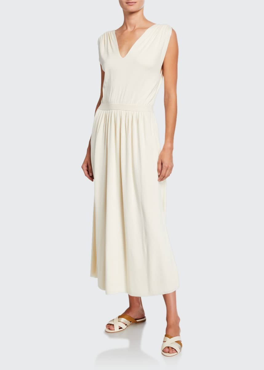 Loro Piana Silk V-Neck Midi Dress