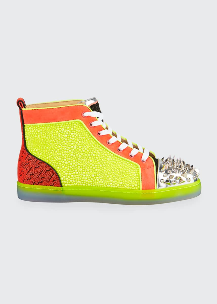 Christian Louboutin Men's No Limit Spiked Neon High-Top Sneakers
