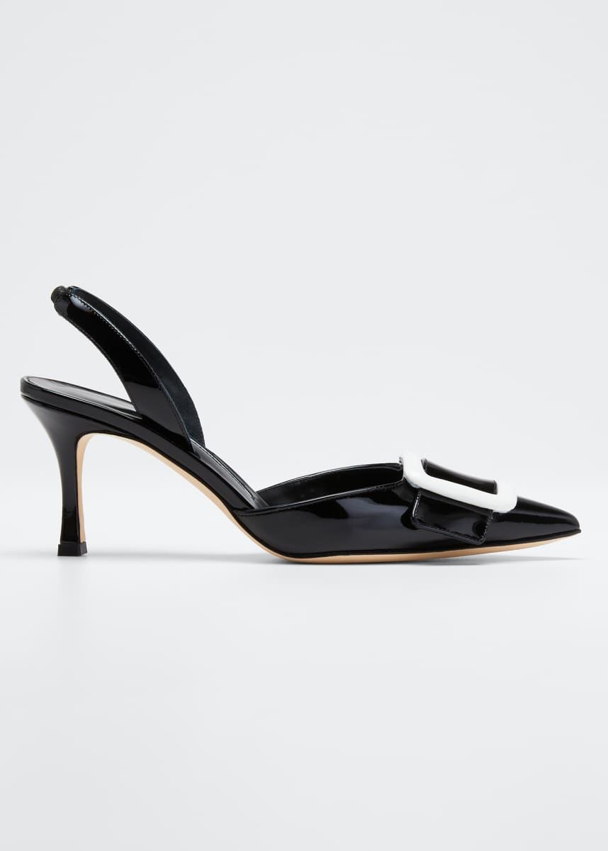Manolo Blahnik May Patent Slingback Buckle Pumps