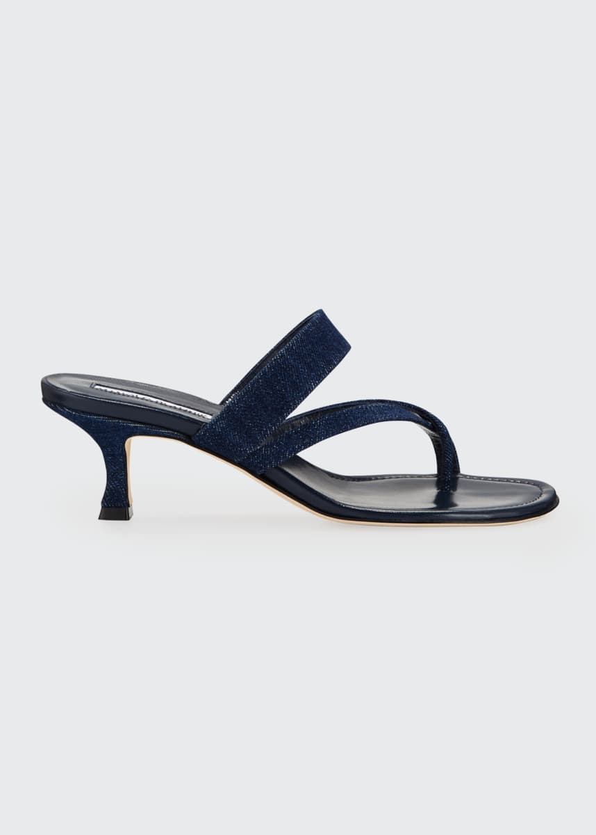 Manolo Blahnik Susa Strappy Denim Slide Sandals