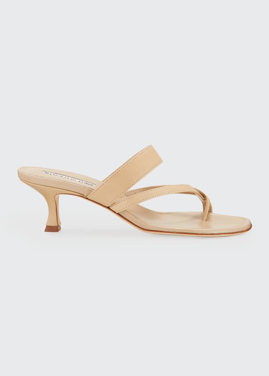 Manolo Blahnik Susa Strappy Leather Slide Sandals