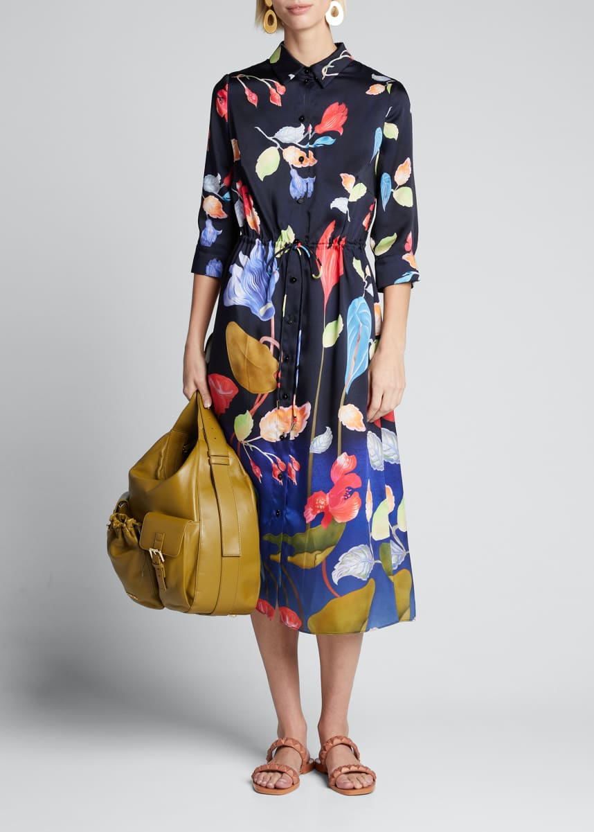 Peter Pilotto Floral 3/4-Sleeve Shirtdress