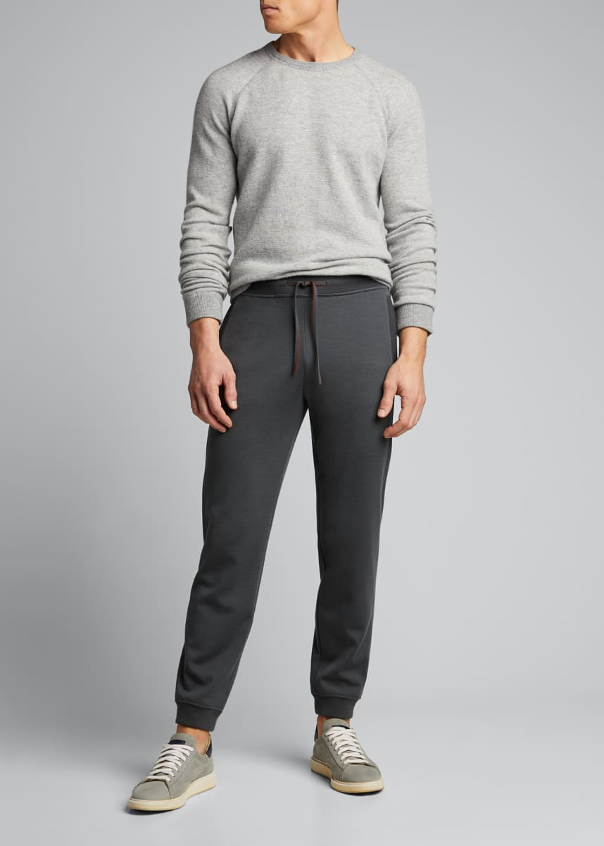 Loro Piana Men's Rib-Knit Jogger Pants