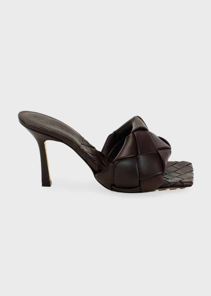 Bottega Veneta Puffy Intreccio Square-Toe Mules