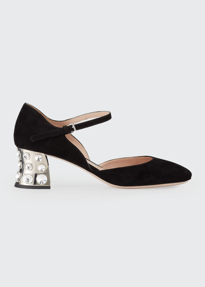 Miu Miu Suede Mirror Block-Heel Pumps
