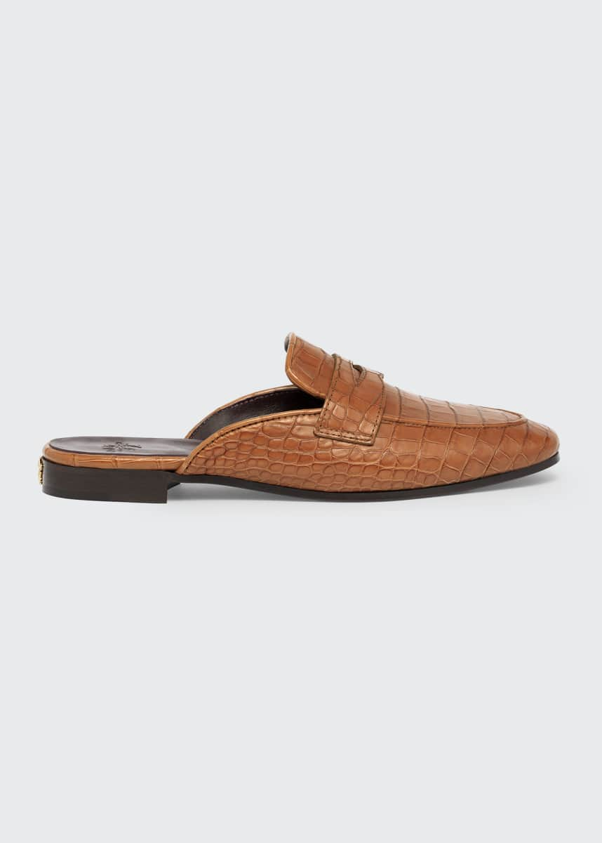 Bougeotte Alligator Slide Loafer Mules