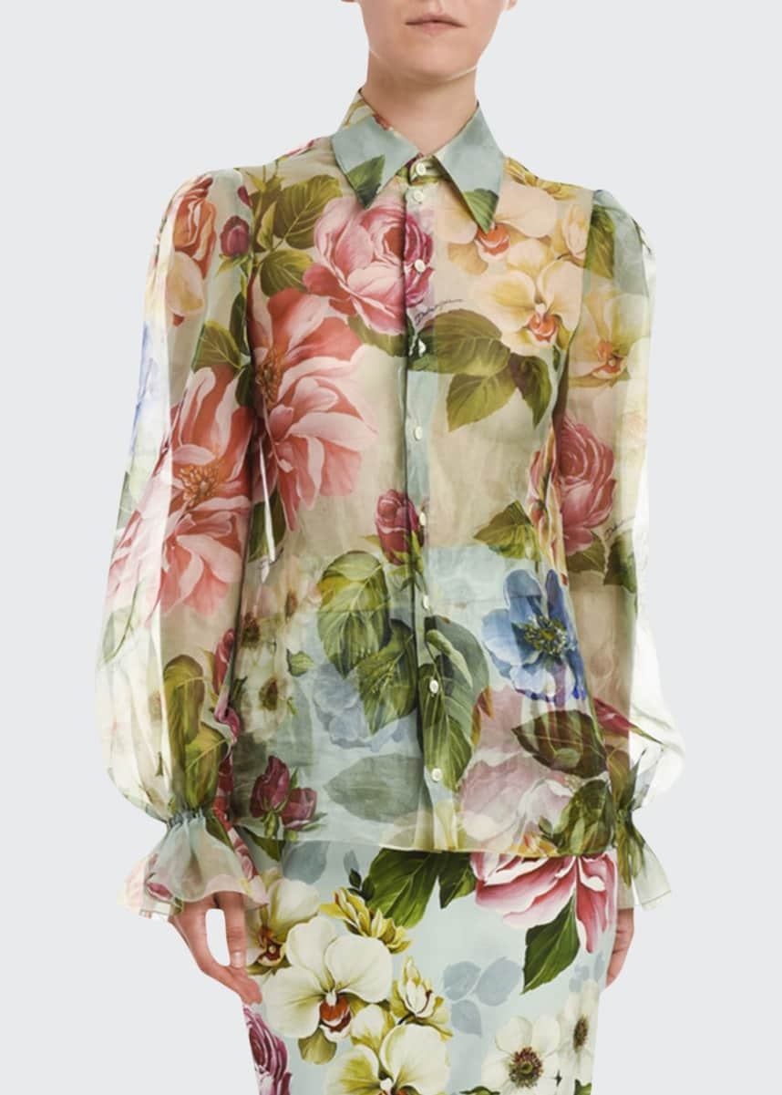 Dolce & Gabbana Floral Organza Button-Front Blouse