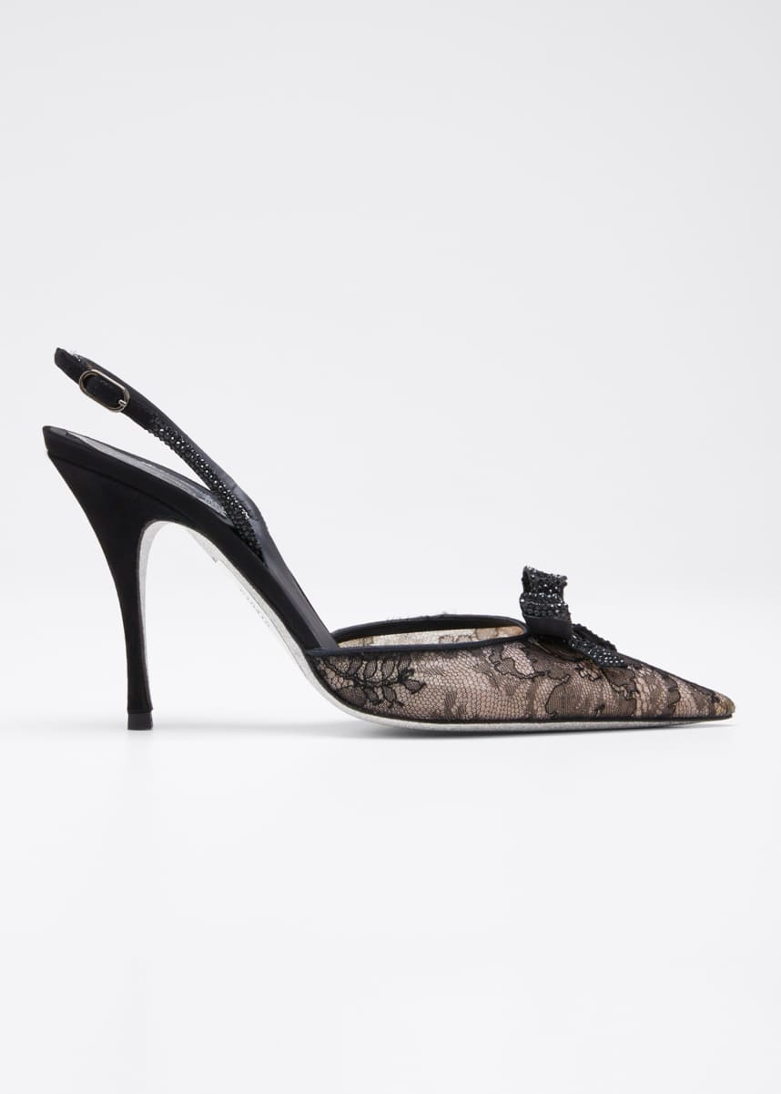 Rene Caovilla Satin & Lace Bow Cocktail Pumps