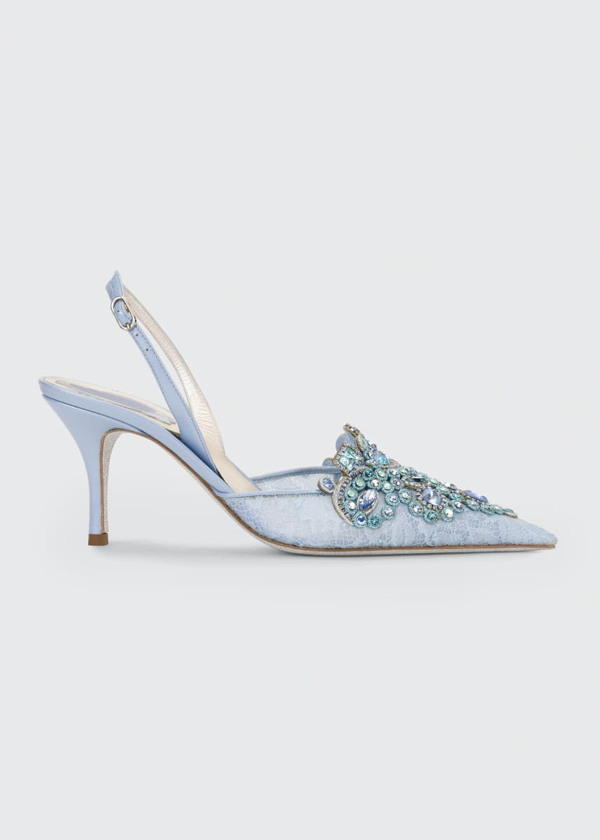 Rene Caovilla Veneziana Jeweled Lace Mid-Heel Pumps
