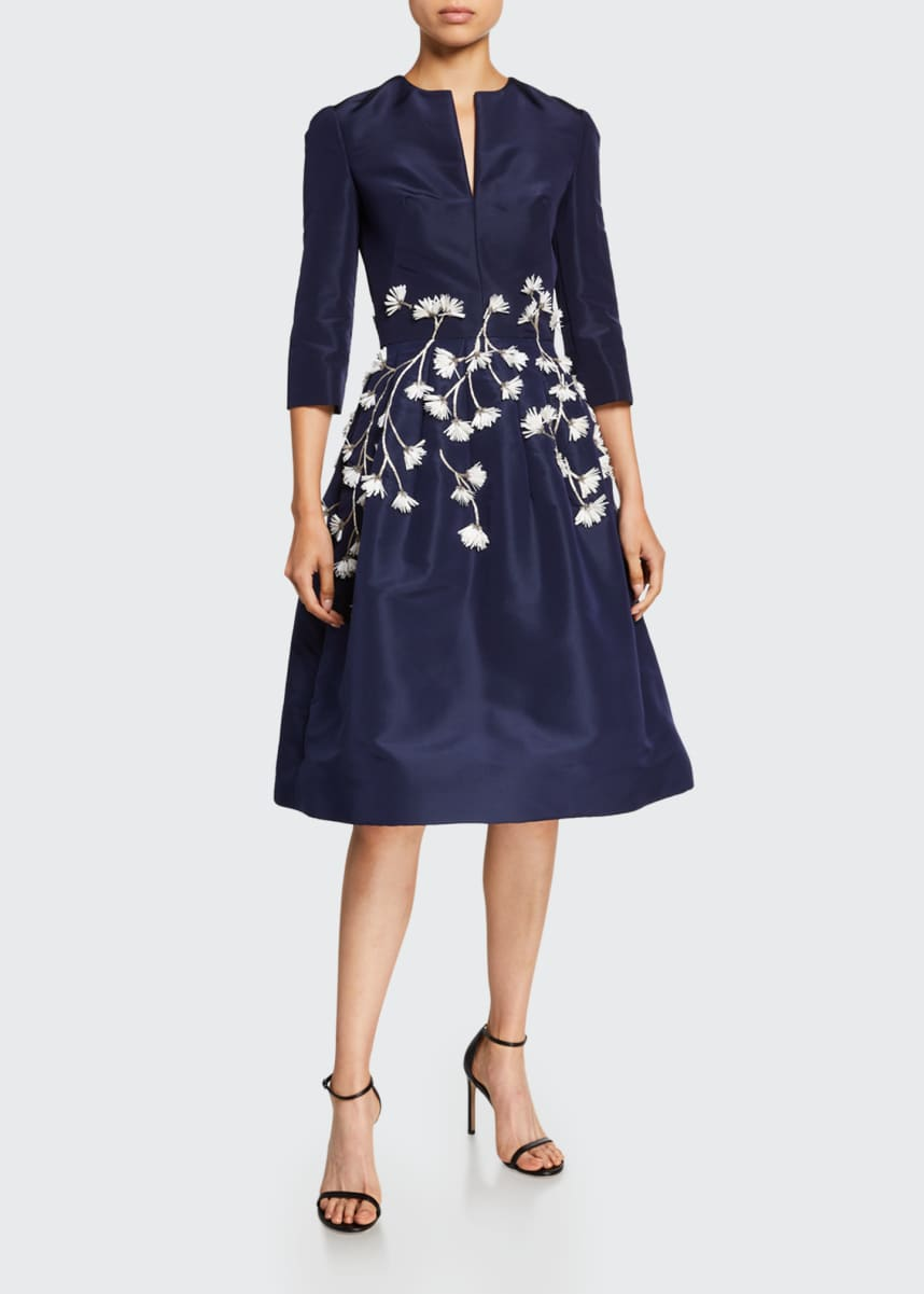 Oscar de la Renta Embroidered V-Neck Silk Satin Dress