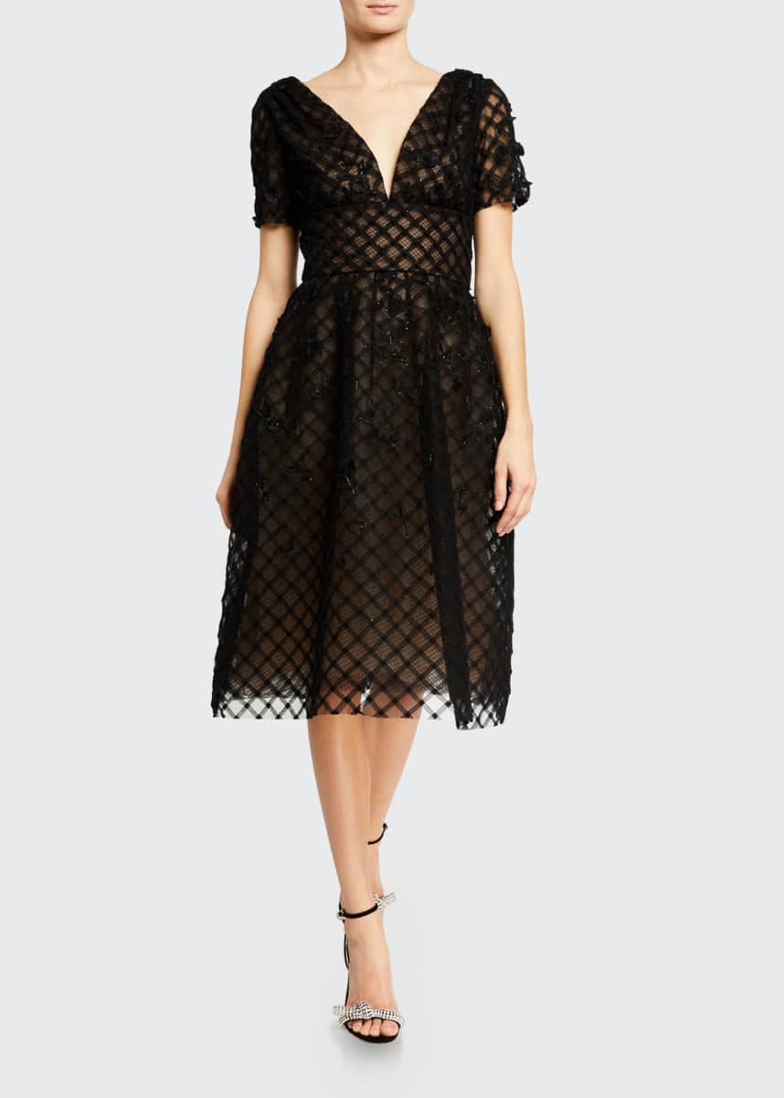 Oscar de la Renta Off-the-Shoulder Tulle Cocktail Dress