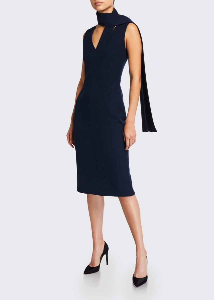 Oscar de la Renta Wool Crepe Tie-Neck Midi Dress