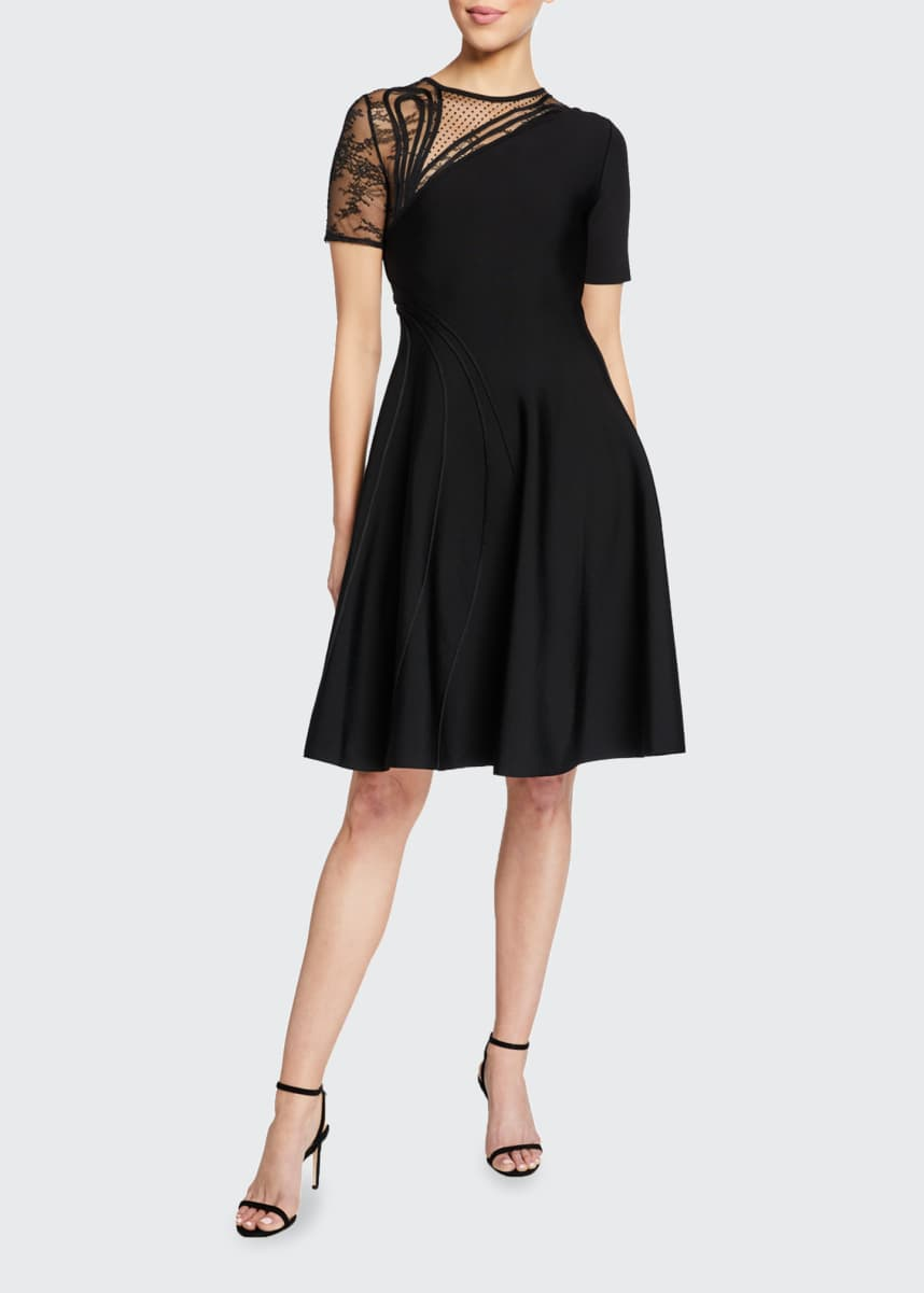Oscar de la Renta Lace-Inset Cap-Sleeve Mini Dress