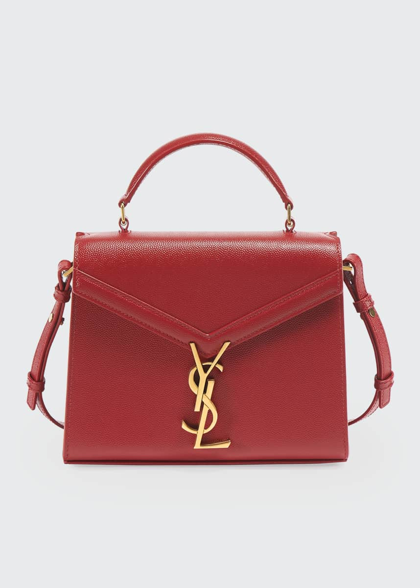 Saint Laurent Cassandra Mini Grain de Poudre Leather Top-Handle Bag