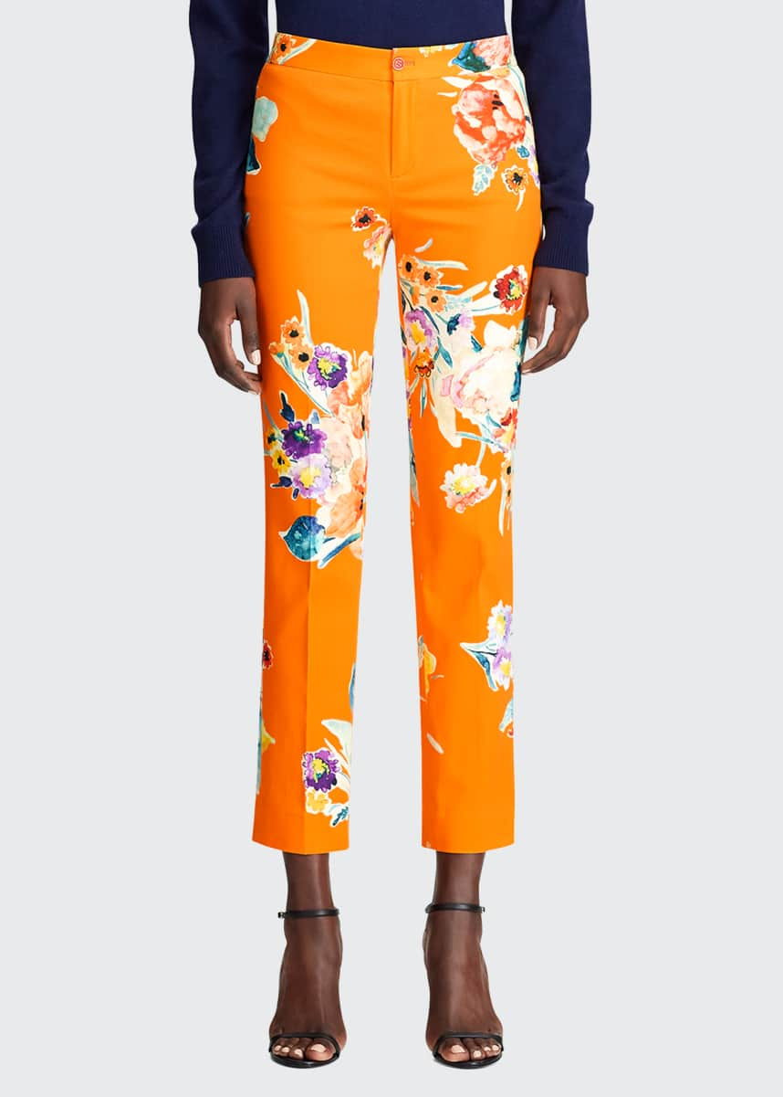 Ralph Lauren Collection Carlina Floral-Print Stretch-Cotton Crop Pants