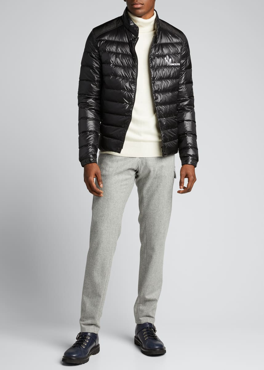 Moncler Men's Alton Snap-Front Puffer Coat
