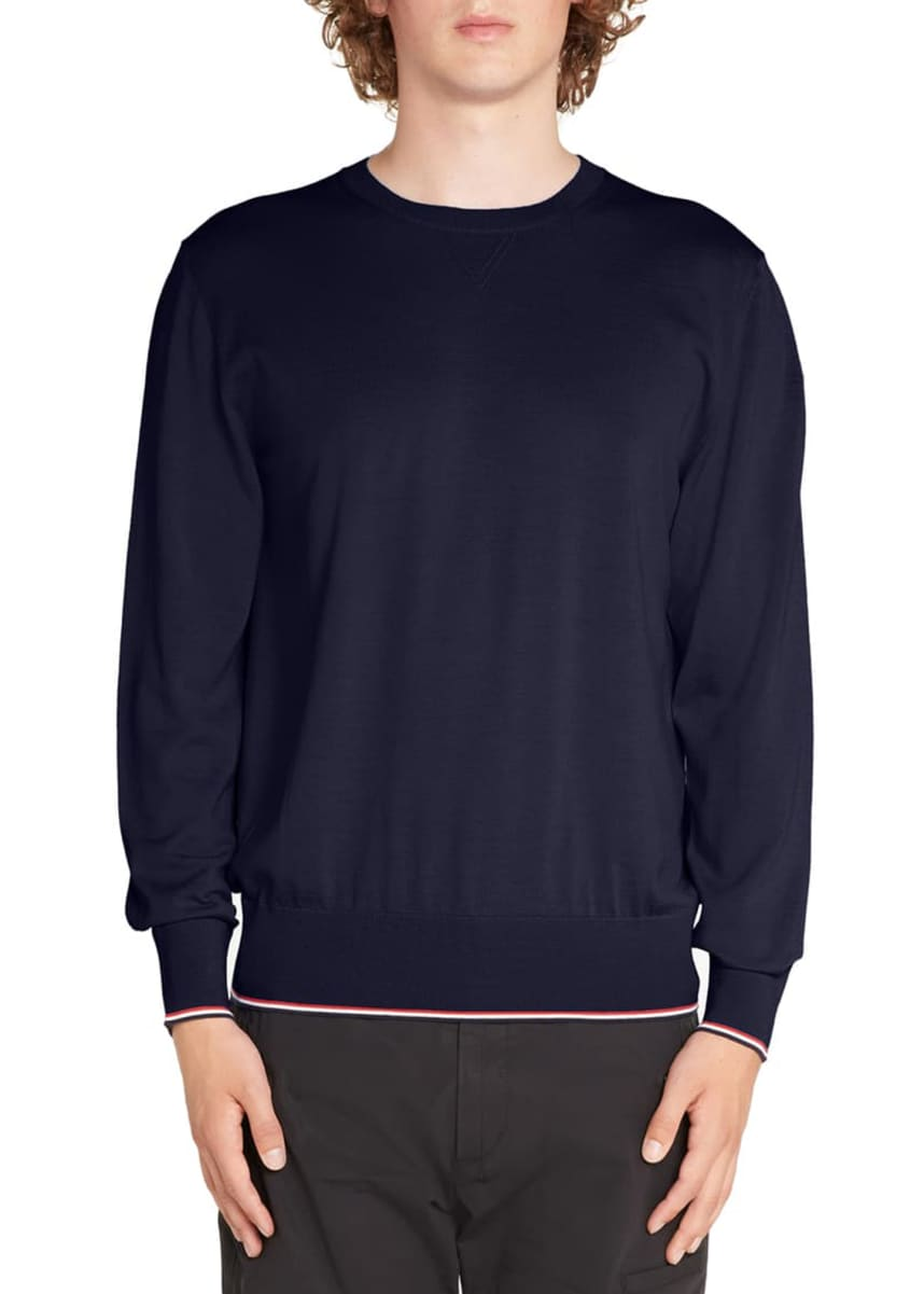 Moncler Men's Tipped Cotton Crewneck Sweater