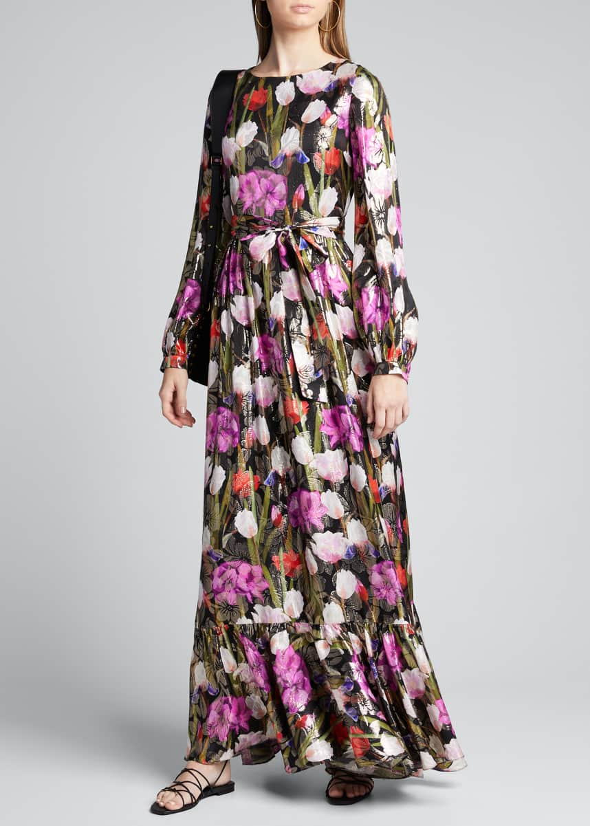 Borgo de Nor Dianora Metallic Floral Jacquard Maxi Dress