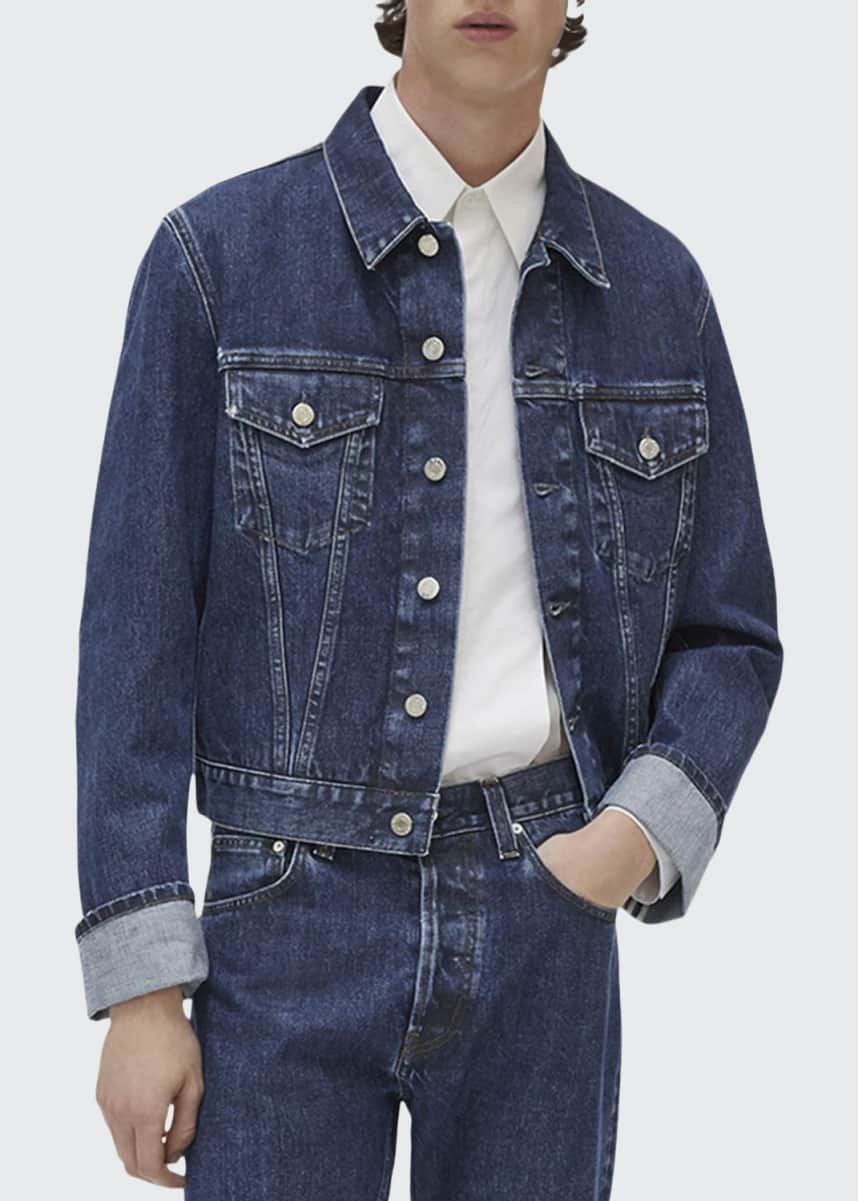 Helmut Lang Men's Dark Stone-Wash Denim Trucker Jacket