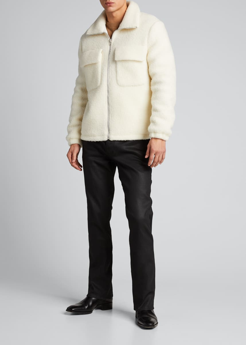 Helmut Lang Men's Plush Teddy Oversized Zip-Front Sweater