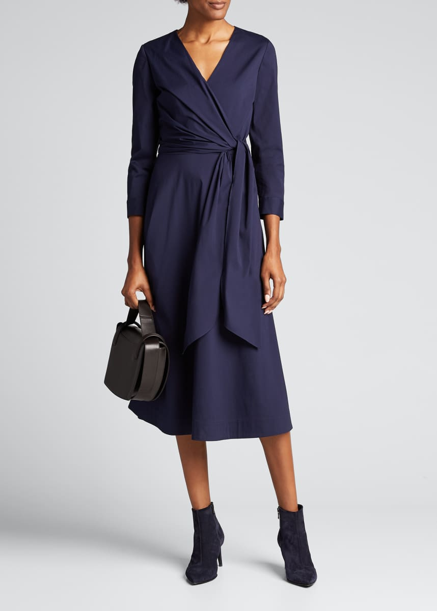 Lafayette 148 New York Penelope Stretch-Cotton Wrap-Front Midi Dress