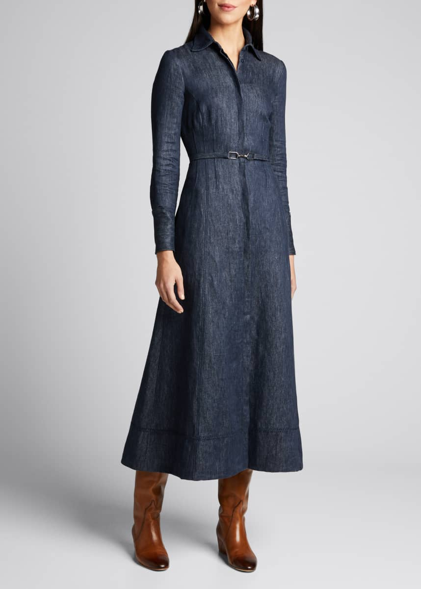 Gabriela Hearst Patti Linen Denim Shirtdress