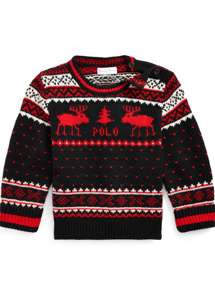 Ralph Lauren Childrenswear Boy's Reindeer Fair Isle Knit Sweater, Size 6-24 Months