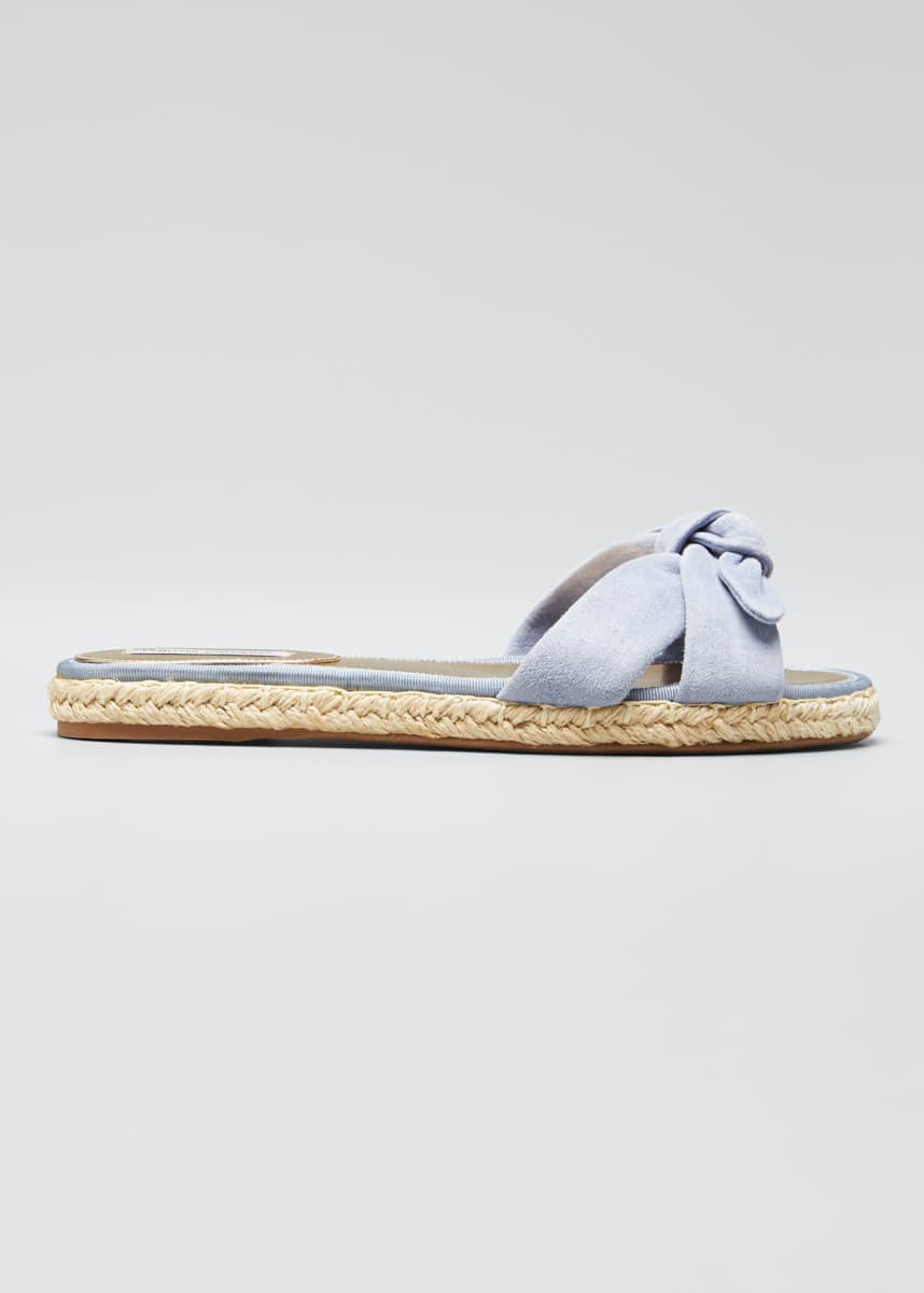 Tabitha Simmons Heli Knotted Suede Espadrille Slide Sandals