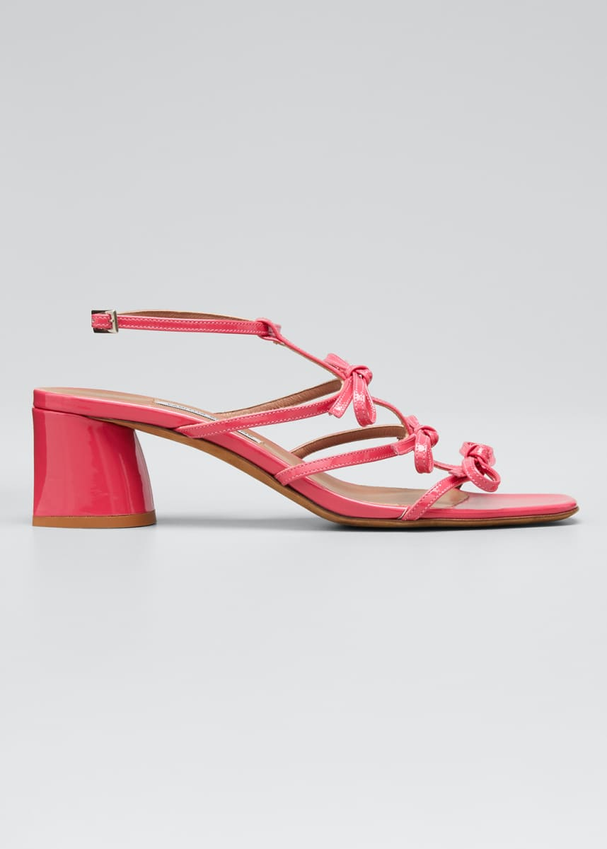 Tabitha Simmons Covie Leather Bows Block-Heel Sandals