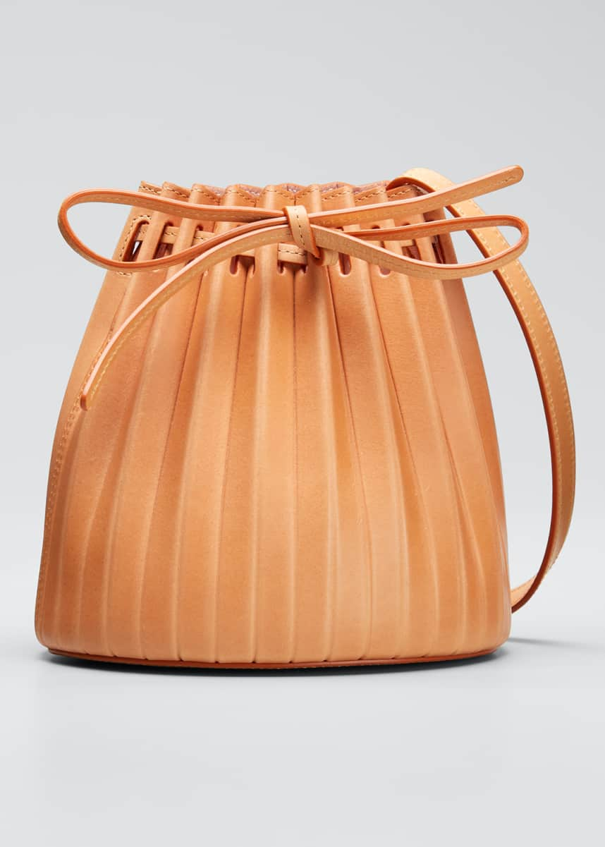 Mansur Gavriel Mini Pleated Vegetable-Tanned Bucket Bag