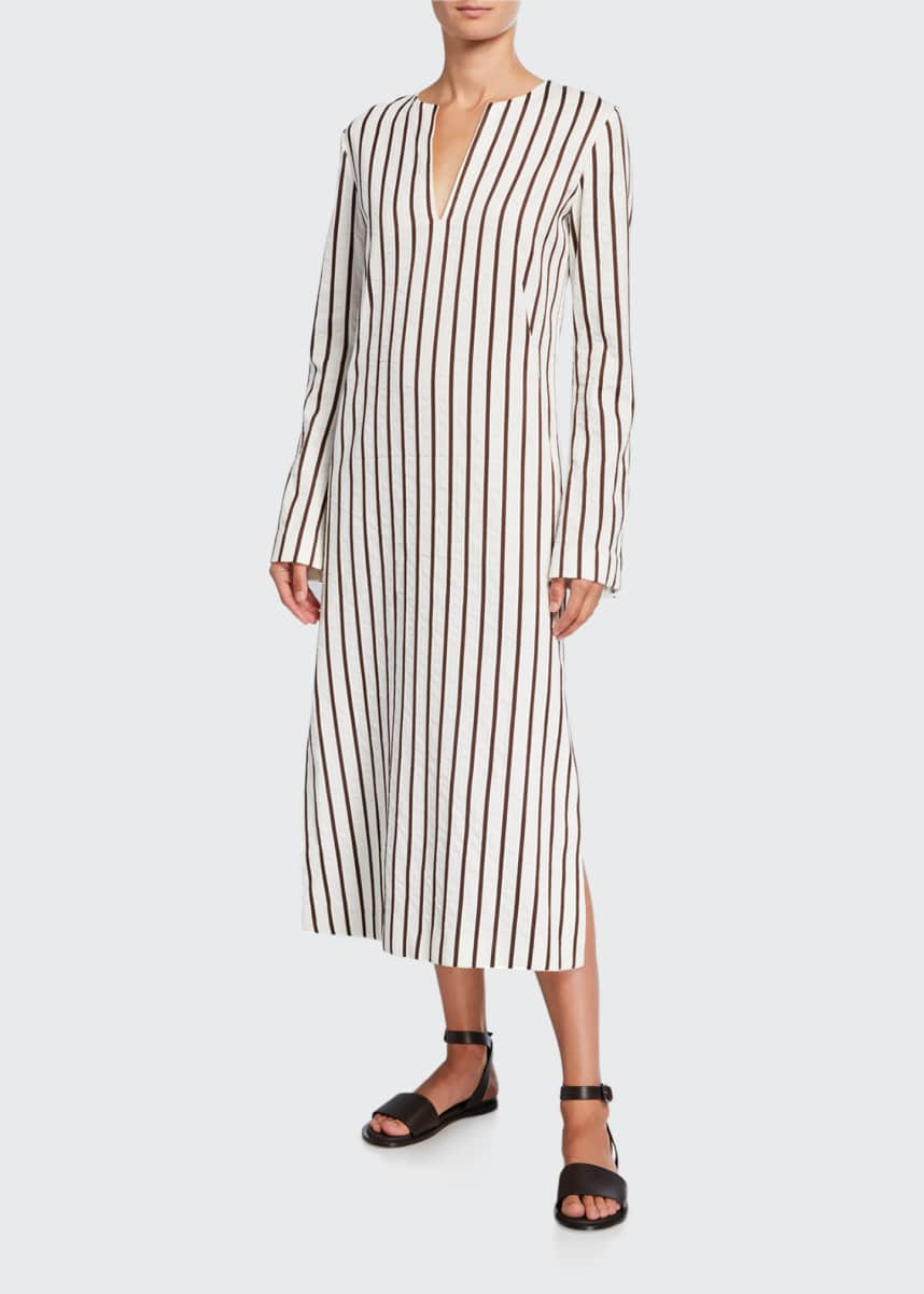 Loro Piana Striped Cotton Long-Sleeve Dress