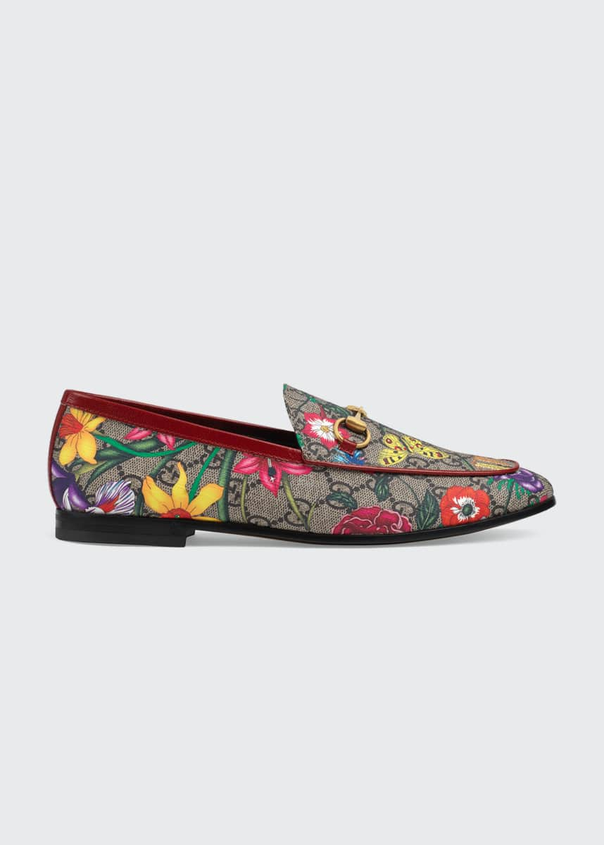Gucci Jordaan Flat Floral Canvas Loafers