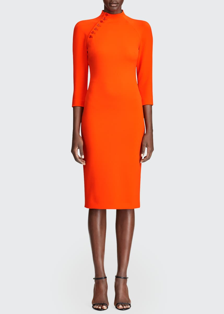 Ralph Lauren Collection Matilda Button-Seamed Mock-Neck Dress