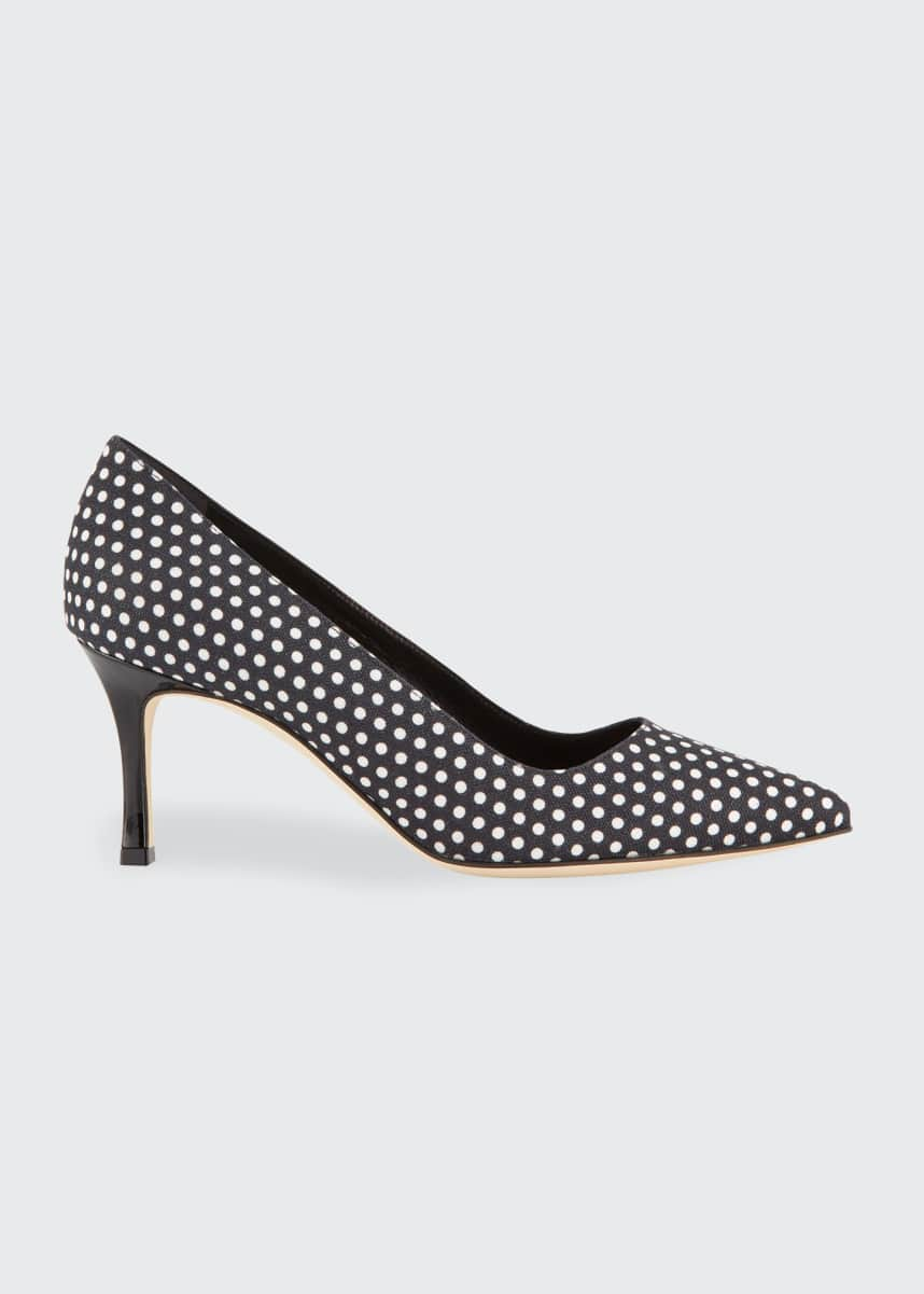 Manolo Blahnik BB 70mm Polka-Dot Linen Pumps