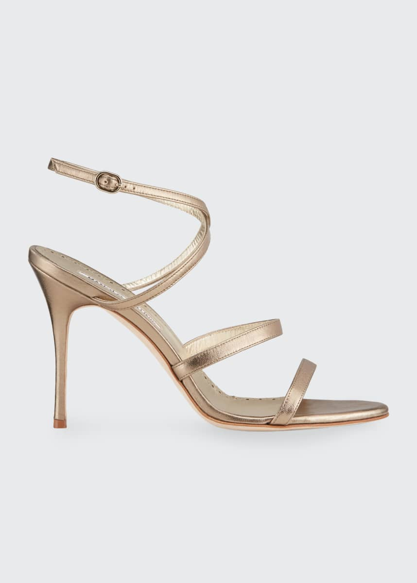 Manolo Blahnik Bacca Metallic Strappy Stiletto Sandals