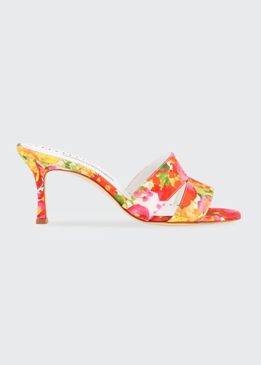 Manolo Blahnik Iacopo Flower-Print Slide Sandals