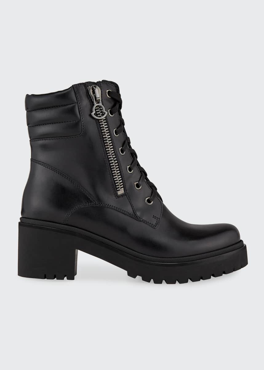 Moncler Viviane Block-Heel Leather Boots w/ Side Zip