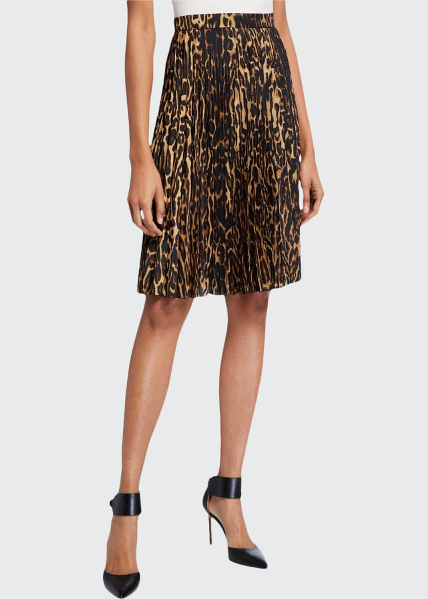 Burberry Rersby Leopard Pleated Skirt