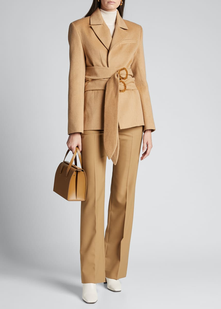 Materiel Brushed Wool Double-Belted Blazer