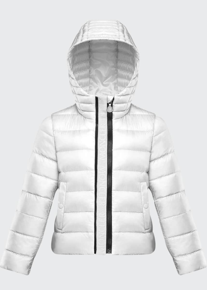 Moncler Girl's Glycine Logo Front Quilted Jacket, Size 4-6