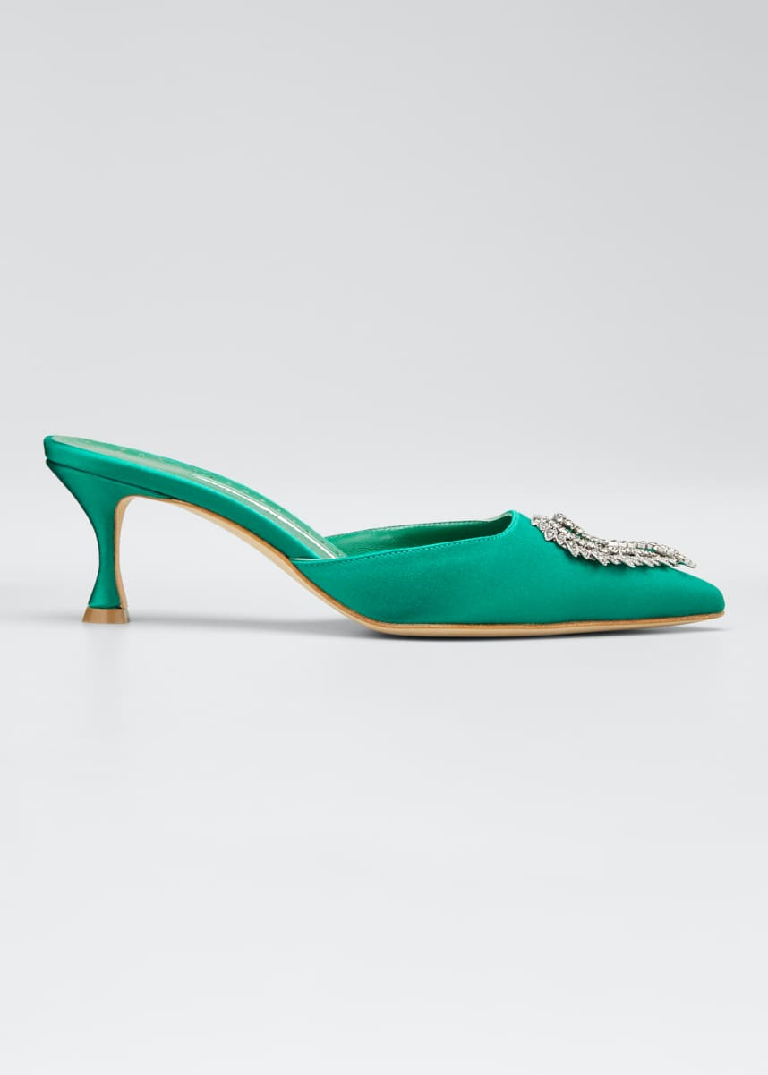 Manolo Blahnik Dream Embellished Satin Mules