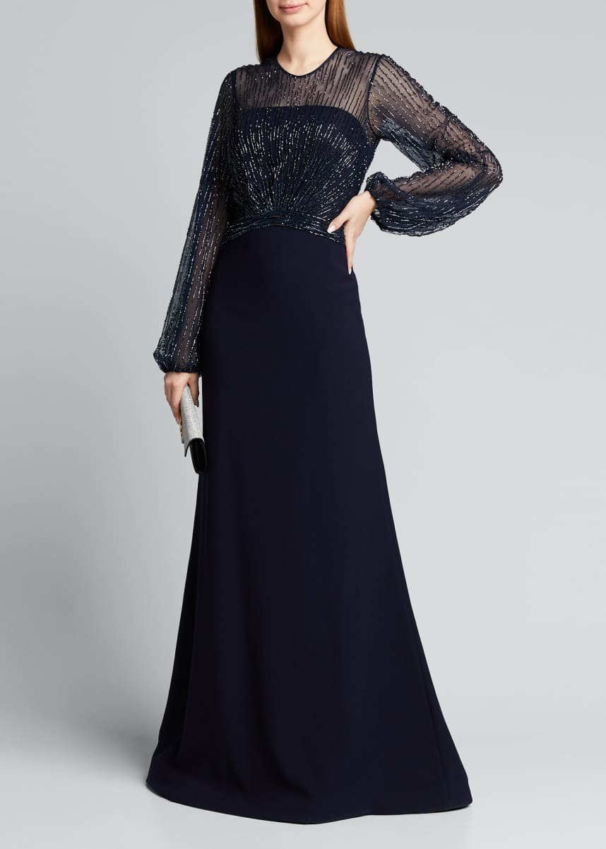 Rene Ruiz Beaded Yoke Long-Sleeve Illusion Gown