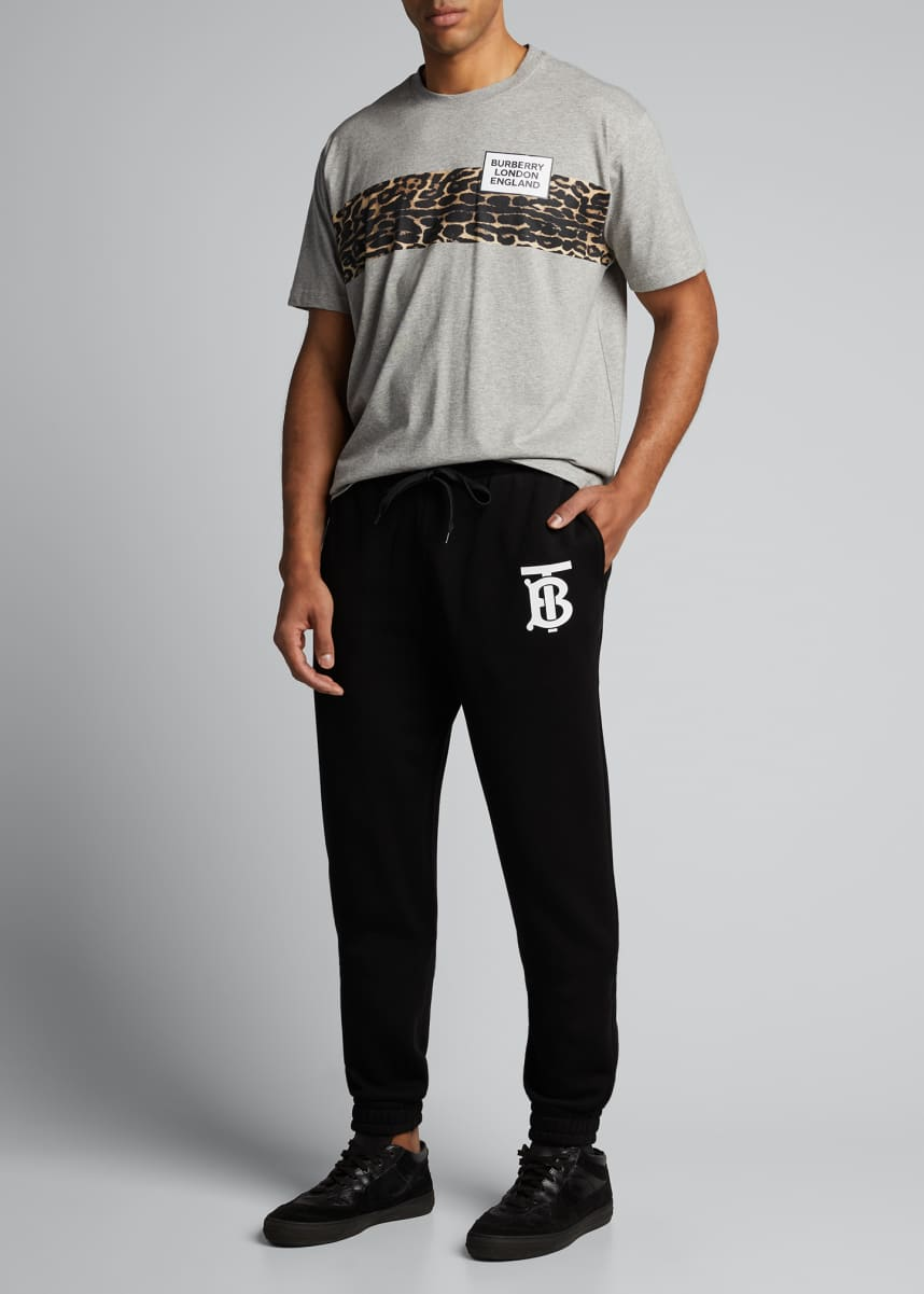 Burberry Men's Leopard-Stripe Logo Crewneck Tee