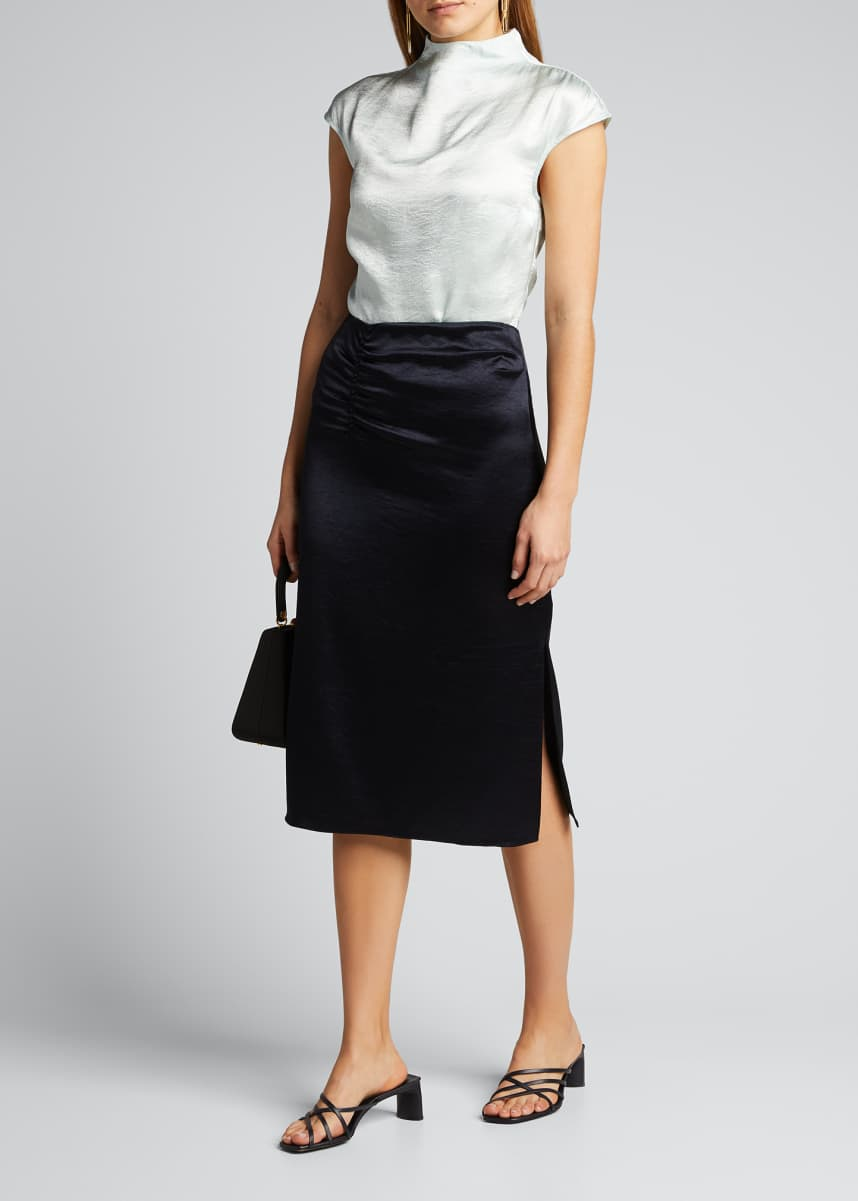 Elie Tahari Justine Satin Pencil Skirt